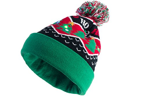 Light Up Christmas Hat (Capelli New York Holiday Chevron With Multi Led Lights Cuff Hat Multi Combo One Size)