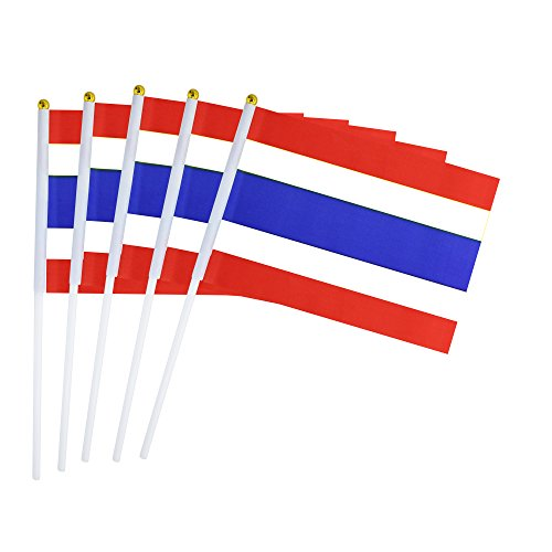 Kind Girl 50 Pack Hand Held Small Mini Flag Thailand Flag Thais Flag Stick Flag Round Top National Country Flags,Party Decorations Supplies for Parades,World Cup,Sports Events,International Festival