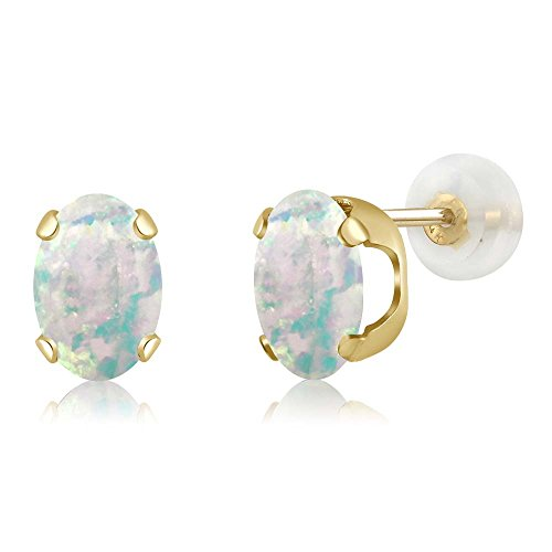 1.26 Ct Oval Cabochon 7x5mm White Simulated Opal 14K Yellow Gold Stud (Opal 14k White Gold Earrings)