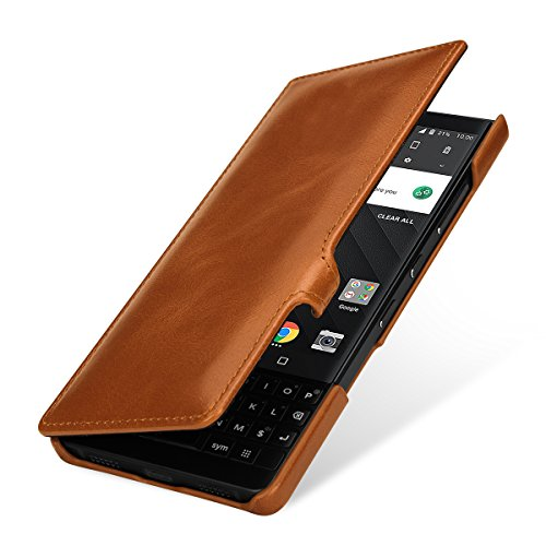StilGut BlackBerry Key2 Case. Leather Book Type Flip Cover for Key2, Folio Case with Closure, Cognac Brown