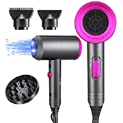 Ionic Hair Dryer, 1800W Professional Blow Dryer (with Powerful AC Motor), Negative Ion Technolog, 3 Heating/2 Speed/Cold…