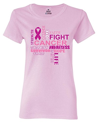 Shop4Ever Breast Cancer Support Women's T-Shirt Breast Cancer Awareness Shirts X-Large Light (Awareness Womens Light T-shirt)