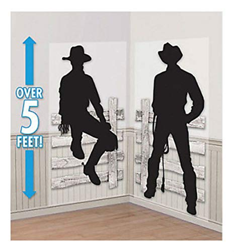 (WESTERN COWBOY Scene Setter wild west party wall decor kit 5' silhouettes fence)