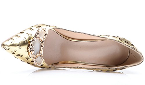 Toe Gold Party Women's Laser Sheepskin TDA Stiletto Pumps Dress Figure Pointed Evening qpEwHP