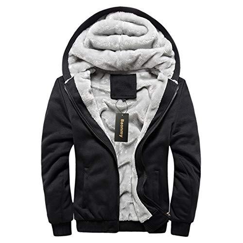 Baonmy Men's Casual Winter Fleece Lined Hoodies Jackets Zip Pullover Warm Thick Coats (Black02, L)