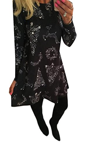 Women Plus Christmas Mid Black Floral Comfy Size Sleeved Dress Length Long SBdnxq