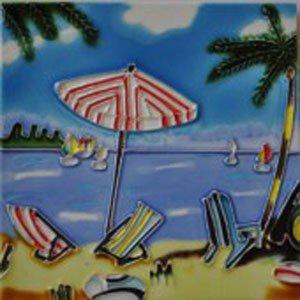 - Beach Scene with Red Striped Umbrella Decorative Ceramic Wall Art Tile 6x6