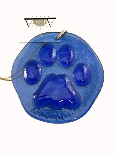 Paw Print Suncatcher Cobalt Blue 100% Recycled Glass - Made in USA (Dog Suncatcher)