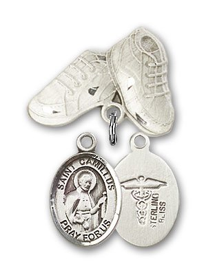 Sterling Silver Baby Badge with ST. CAMILLUS of LELLIS/Doctors Charm and Baby Boots Pin