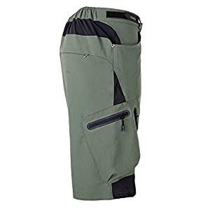 "ALLY Men's Waterproof MTB Baggy Cycling Shorts, Loose-fit Bicycle Biking 1/2 pants,Outdoor Sports Leisure Bottoms (XXL 36""-38"", Army Green)"