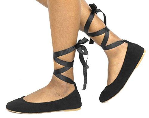 Flats Shoes PAIRS Fina Suede DREAM Ankle Women's Straps Ballet Sole Straps Black t8dqHxzd