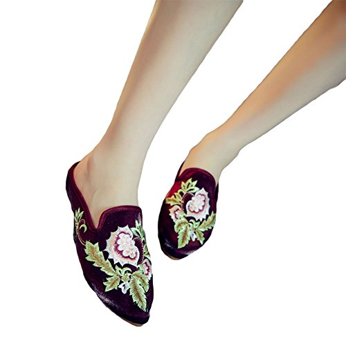Ztl Mocassini Ricamo Donna Backless Slip On Pantofole Mule Flats Vino Rosso
