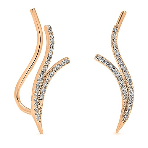 Dazzlingrock Collection 0.20 Carat (ctw) 14K Round Diamond Ladies Double Row Crawler Climber Earrings 1/4 CT, Rose Gold ()