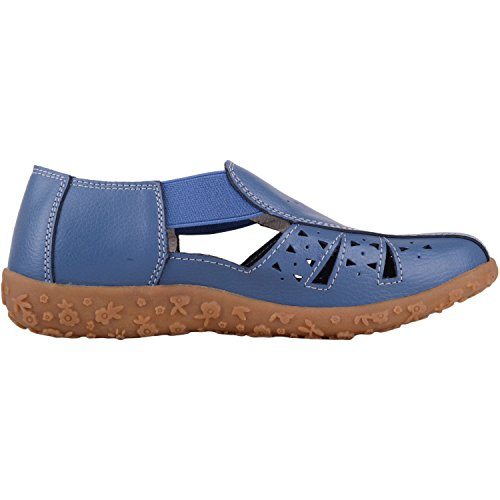 Absolute Footwear Womens Casual Elasticated Leather Summer/Holiday Sandals/Shoes Blueberry KwHTEOV