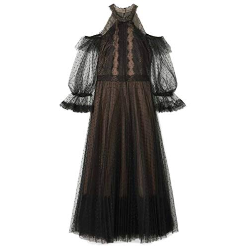 Elegante Hombro Black Cuello Vestido Frío Con Alta Cintura Y Malla Lunares De Gfsoediden Halter BCqw8Zxx