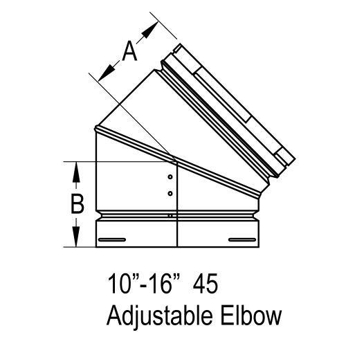 M&G DuraVent 8GVL45 8'' Adjustable 45 Degree Elbow B-Vent