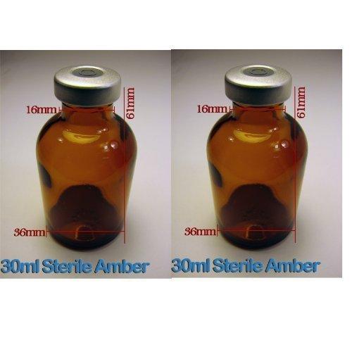 - 2 pack 30ml Empty Amber Borosillicate Sealed Sterile Serum Vials