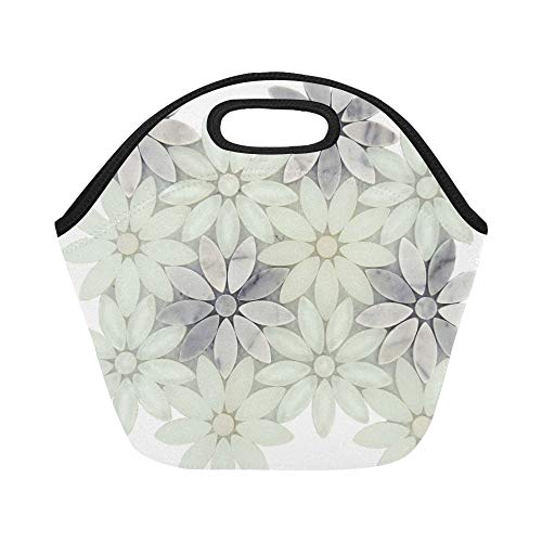 Insulated Neoprene Lunch Bag Daisy Field White Glass And Stone Tile Large Size Reusable Thermal Thick Lunch Tote Bags For Lunch Boxes For Outdoors,work, Office, School (Stones Milk Glass)