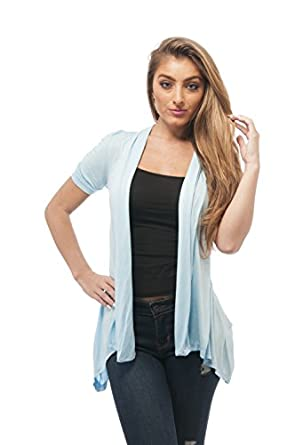 Rayon Short Sleeves Flyaway Cardigan Shawl Collar Shrug Cardi at ...