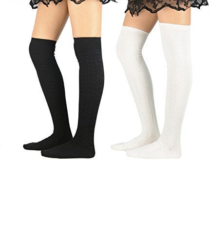 Zando Women Soft Elegant Cotton Knitted Over Knee Tights Socks Long Cute Thigh High Stocking 2 Pairs Black White - Seahawks Cheerleader Costumes