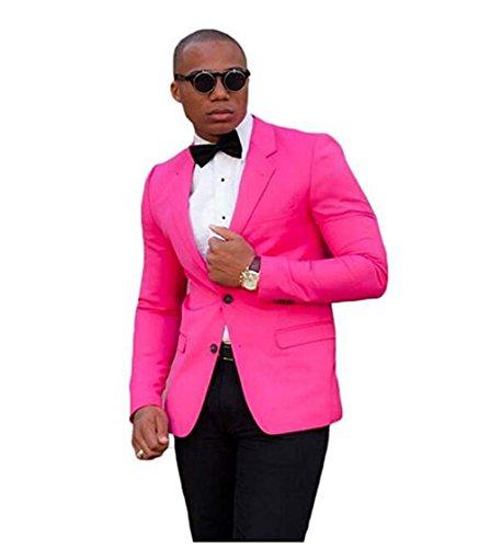 Tsbridal Men's 2 Piece Suit Groom Tuxedos Business Men Suits with Black Pant Pink 3XL ()