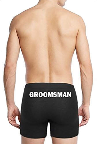 Boxer Briefs for Men Groomsman Wedding Underwear Bachelor Party Gifts Black Medium by Custom Apparel R Us