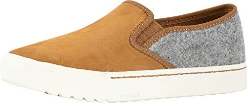 SOREL Women's Campsneak¿ Slip Camel Brown Leather/Felt Combination 8 B US