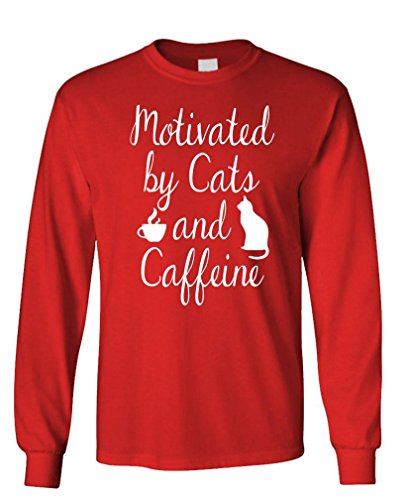- v2 Cats and Caffeine - Coffee Kittens Purr - Long Sleeved Tee, M, Red v2