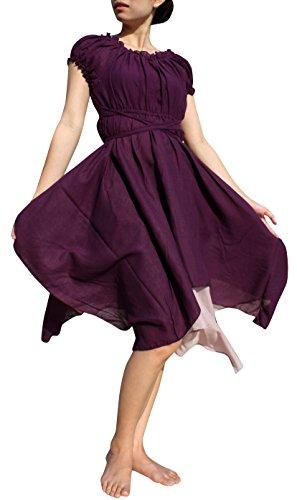 Svenine Serving Wench Full Layered Baby Doll Sleeve Soft Cotton Medieval Dress, X-Large, Dark Purple ()