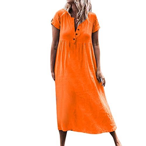 Women Casual Long Dress,KIKOY Solid V-Neck Short Sleeve Dress Splice Button Dress Orange]()