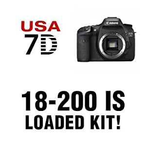 Canon EOS 7D Digital SLR Camera 3 Lens Kit with 18-200mm IS, Wide Angle, 2X Telephoto, 16 GB and More