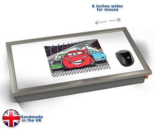 KICO Koolart Disney Cars Movie Film Car Illustration Caricature Cushioned Bean Bag Laptop Lap Tray Desk - Built-in EMF Shield (Electro Magnetic Field) - Chrome Effect Frame