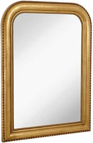 Hamilton Hills Thick Rounded Top Gold Rich Framed Wall Mirror 40 x 30