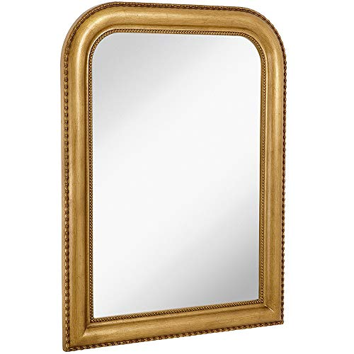 Hamilton Hills Thick Rounded Top Gold Rich Framed Wall Mirror 40