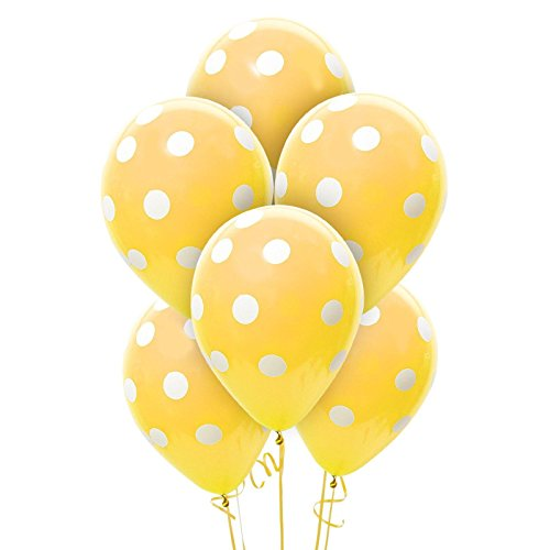 Party Supplies - Gold and White Dots Latex Balloons (6)