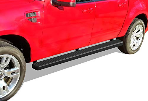 APS iBoard (Black Powder Coated 4 inches) Running Boards | Nerf Bars | Side Steps | Step Rails for 2007-2010 Ford Explorer Sport Trac Crew Cab Pickup 4-Door