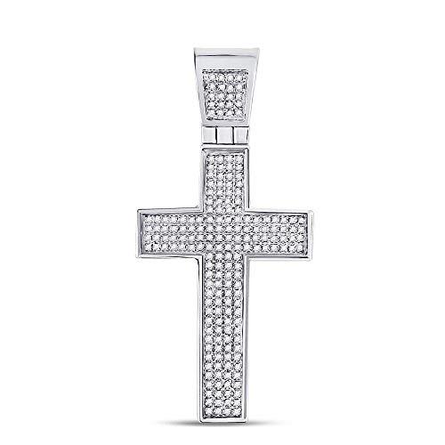 FB Jewels .925 Sterling Silver Mens Round Diamond Roman Cross Charm Pendant 1/2 Cttw (I3 clarity; J-K color)