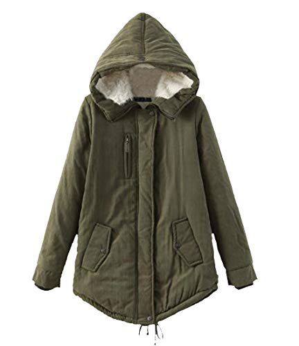 H&E Womens Winter Hooded Wool Lined Fleece Military Anorak Parkas Jacket Army Green