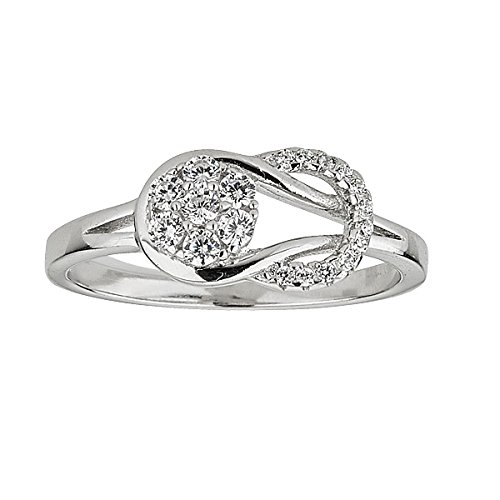 Sterling Silver Rhodium Eternity Love Knot Cubic Zirconia (Cubic Zirconia Knot Ring)
