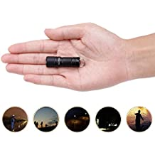 Mini Flashlight Keychain with Micro USB Rechargeable Tiny Flashlight Brightness can Achieve up to 200 lumens for EDC Torch (Black)