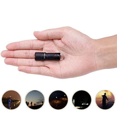 Mini Flashlight Keychain with Micro USB Rechargeable Tiny Flashlight Brightness can Achieve up to 200 lumens for EDC Torch (Black)]()