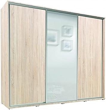 E-MEUBLES - Armario Mónaco, Armario con estantes, 2 Puertas correderas, Espejo Empotrado, 255 x 215 x 66 cm, para Dormitorio de niños de Adolescentes, salón, Entrada para Ropa: Amazon.es: Hogar