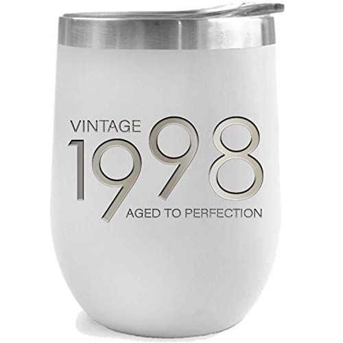Steel Vintage T-shirt - 1998 21st Birthday Gifts for Women and Men White 12 oz Insulated Stainless Steel Tumbler | 21 Year Old Presents | Mom Dad Wife Husband Present | Party Decorations Supplies Anniversary Tumblers Gift th
