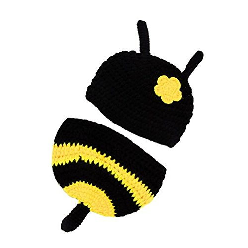 [Dealzip Inc Cute HoneyBee Baby Photo Props Outfit Crochet Knit Costume Set] (Super Cute Infant Costumes)