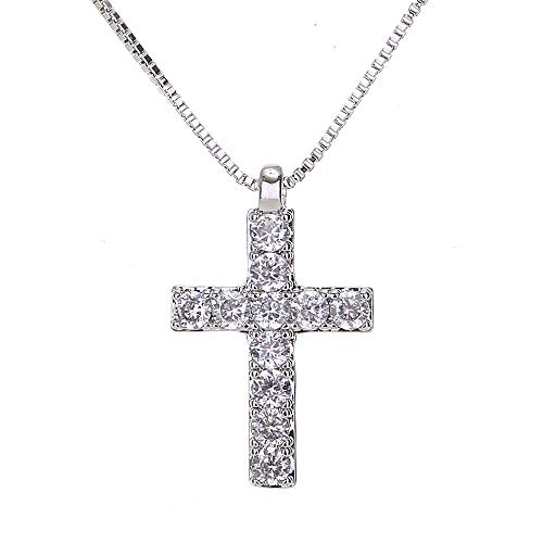 (AMYJANE Silver Cross Necklace for Women - Sterling Silver Clear Crystal Cubic Zirconia CZ Diamond Small Christian Cross Pendant Necklace Charm for Girls Teens Religious Jewelry Costume)
