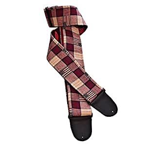 rustic woven checkered american flag handmade guitar strap burgundy blue and tan. Black Bedroom Furniture Sets. Home Design Ideas