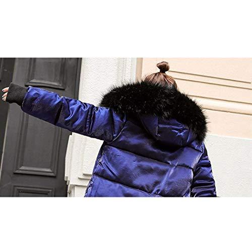 Retro Parkas Bolsillos Sintética Manga Capucha Abrigo Capa Laterales Invierno Piel Plumas Exteriores Cómodo Larga Con Blau Largos Cuello Cremallera Mujer De Prendas x80Savq8w