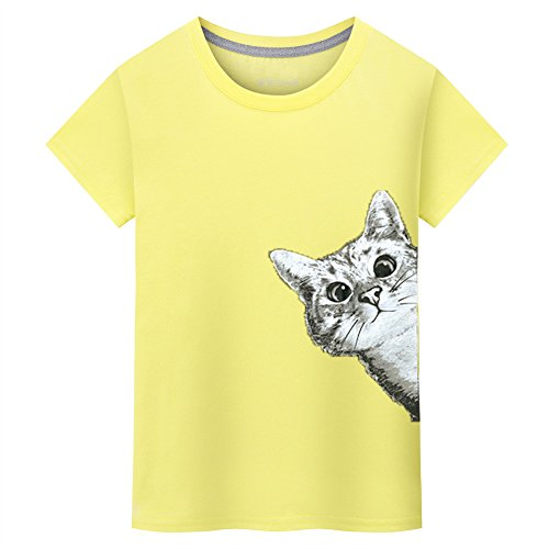 Patons Free Crochet Patterns - Realdo Mens Cute Cat Print T-Shirt, Casual Fahison Loose Crewneck Pullover Top(Yellow,X-Large)