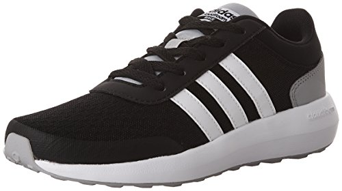 Adidas Sport Race (adidas NEO Boys' Cloudfoam Race K Running Shoe, Black/White/Light Onix, 1 Medium US Little Kid)