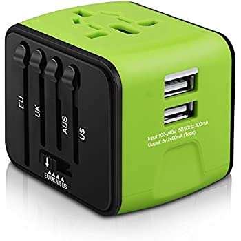 Universal Travel Adapter, Iron-M All-in-one International Travel Charger with 2.4A Dual USB, Worldwide Travel Power Adapter Plug Wall Charger for US, UK, EU, AU & Asia Covers 150 Countries
